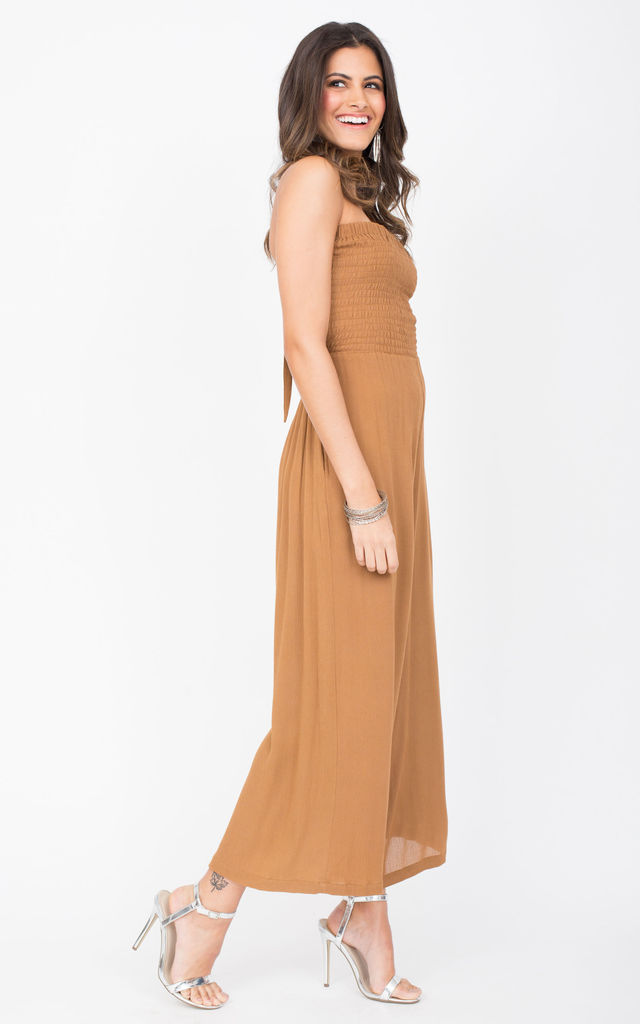 Bandeau Jumpsuit Tie Back Caramel by likemary