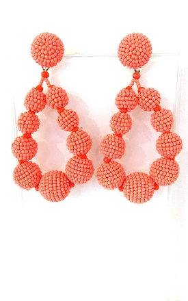 Coral Beaded Drop Style Statement Earrings by Olivia Divine Jewellery