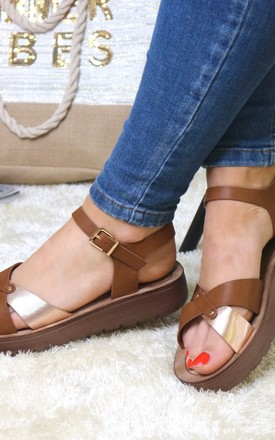 Camel layered strap sandals by Bond Street Shoe Company
