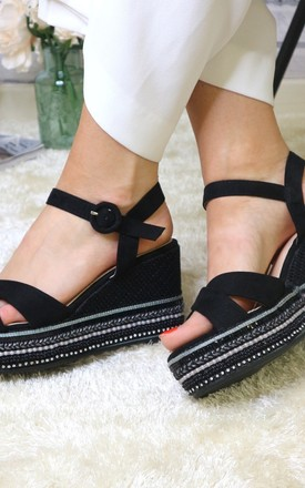 Black cross strap wedges by Bond Street Shoe Company