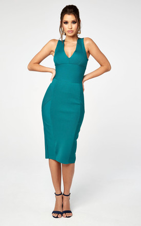 42ade3a40 Pleated Bandage Midi Plunge Dress by The Girlcode Product photo