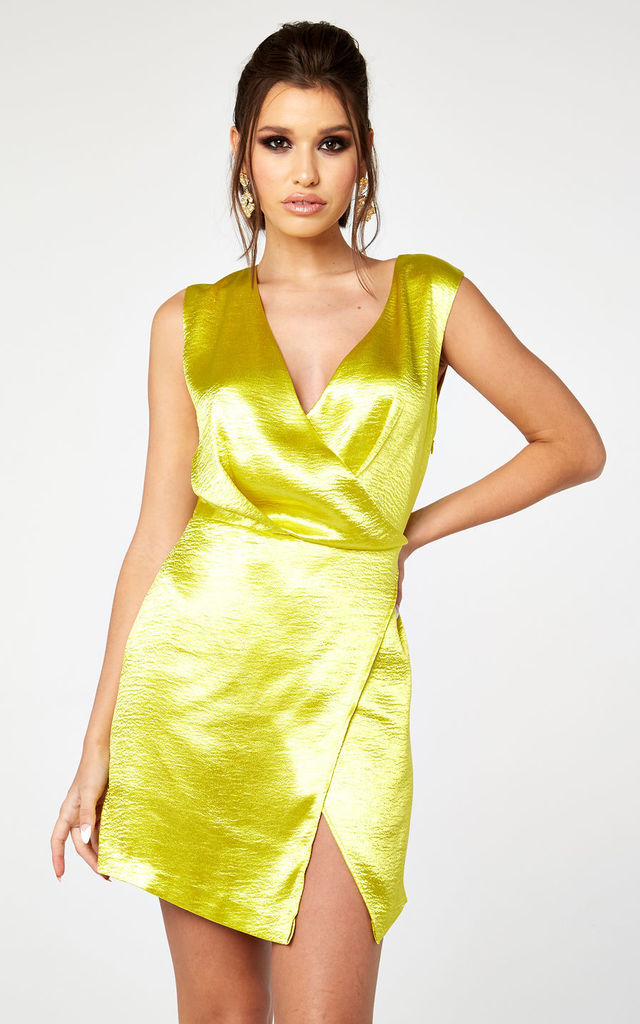 HAMMERED SATIN WRAP MINI DRESS by The Girlcode