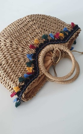 Woven Basket Bag with Multicoloured Tassels by THE CODE HANDBAGS