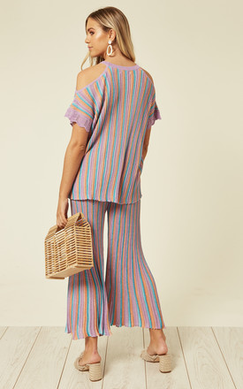 Cold Shoulder Top And Culottes Co Ord In Purple by Lucy Sparks