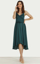 Cowl Neck Satin Dip Hem Dress Green by URBAN TOUCH