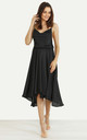Cowl Neck Satin Dip Hem Dress Black by URBAN TOUCH