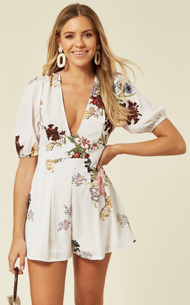 White Floral Print Playsuit by Oeuvre