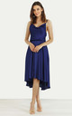 Cowl Neck Satin Dip Hem Dress Sax Blue by URBAN TOUCH