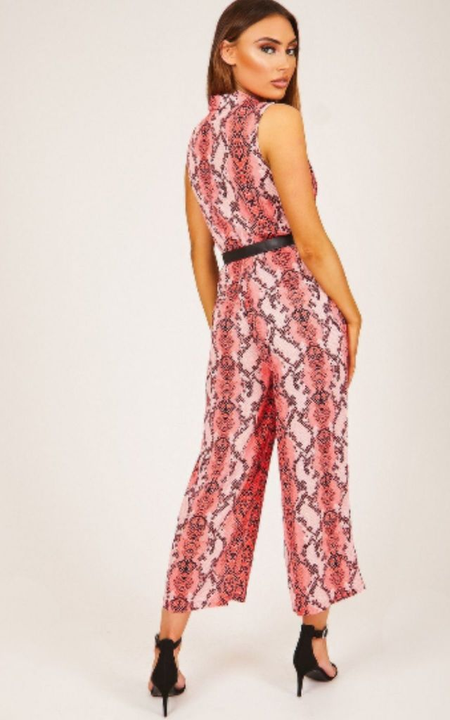 Pink Snake Print Button Up Jumpsuit by Hachu