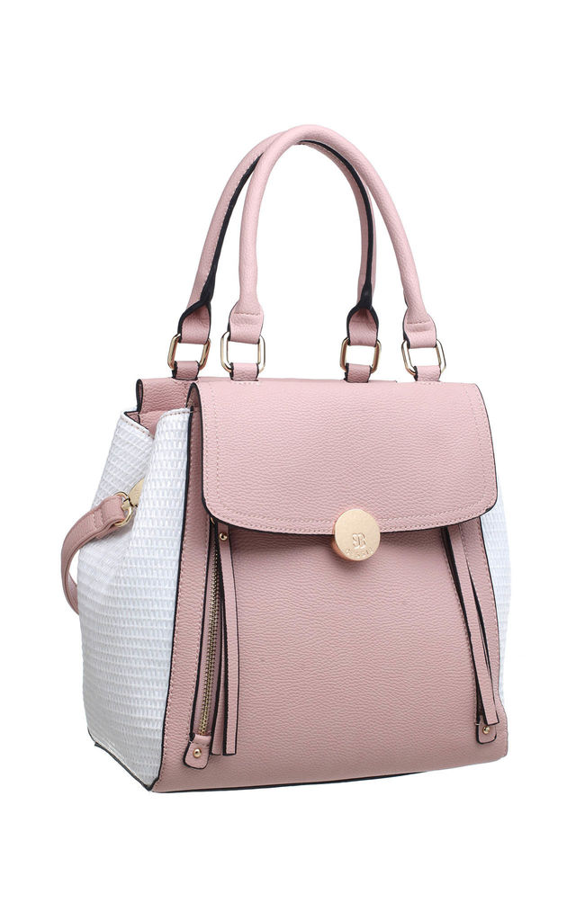 TWO TONE ZIPPER TOTE BAG PINK by BESSIE LONDON