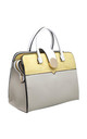 COLOUR BLOCK TOTE WITH GOLD CIRCLE CLIP YELLOW by BESSIE LONDON