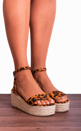 Leopard Animal Print Espadrilles Wedged Platforms Wedges Strappy Sandals High Heels by Shoe Closet
