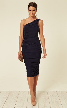 Navy Rose Ruched One Shoulder Midi Dress by Pleat Boutique