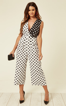 Black And White Polka Dot Culotte Jumpsuit by UNIQUE21 Product photo