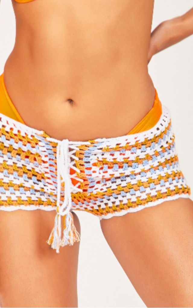 Orange Knitted Tie Front Shorts by Hachu