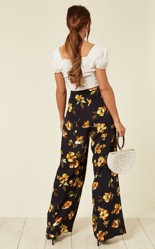 Emilia Yellow Floral Palazzo Pants by Voodoo Vixen