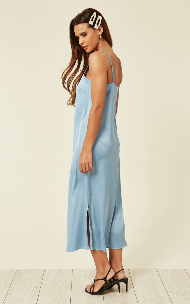 Satin cami midi dress with slit in light blue by D.Anna