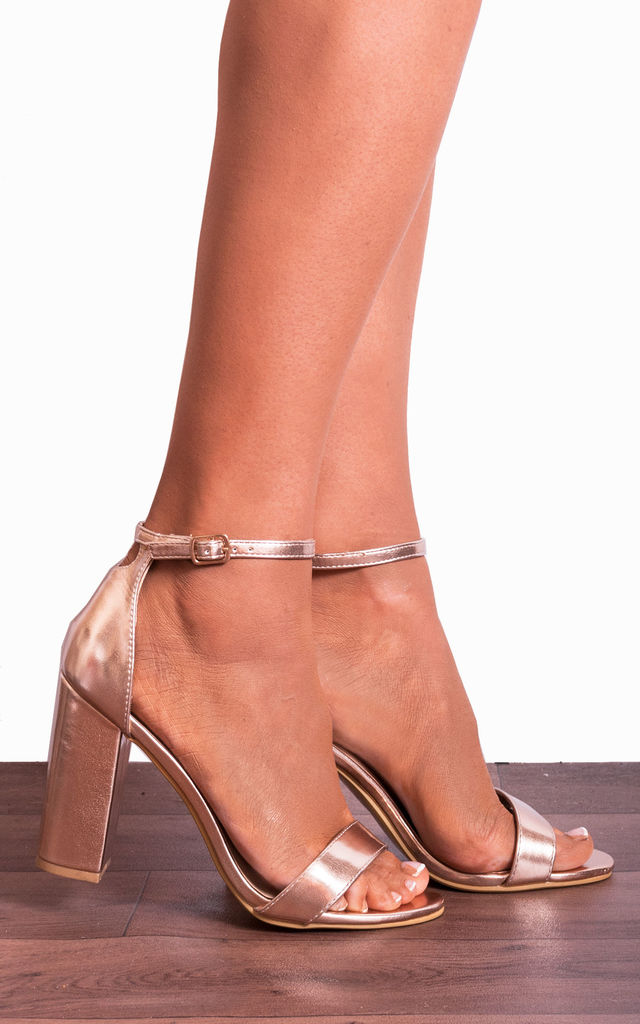 7dc43a151db63 Rose Gold Metallic Barely There Strappy Sandals High Heels by Shoe Closet
