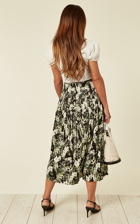Tropical floral print pleated wrap skirt in green by D.Anna