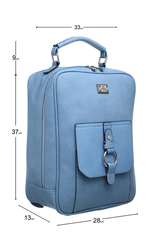 SILVER RING FEATURED FRONT POCKET BACKPACK BLUE by BESSIE LONDON