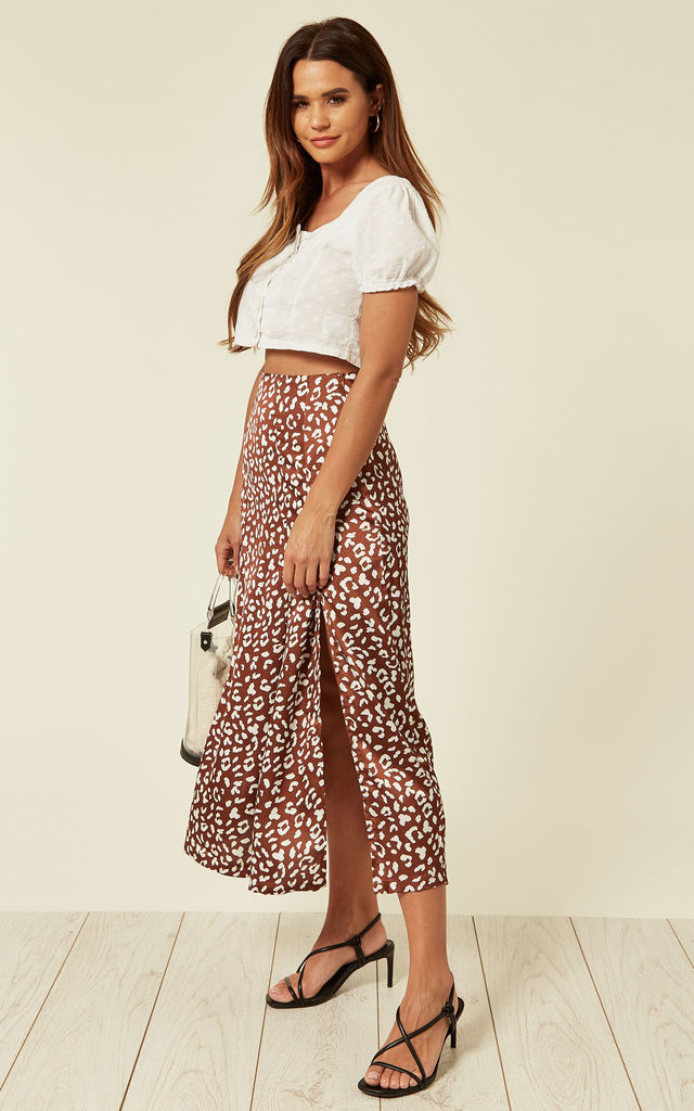 Abstract Leopard Print Skirt With Split by UNIQUE21
