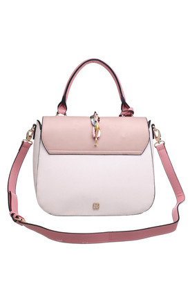 SILK RIBBON FLAP TOP TOTE PINK by BESSIE LONDON