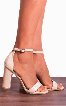 Nude Patent Barely There Ankle Strap Strappy Sandals High Heels by Shoe Closet Product photo