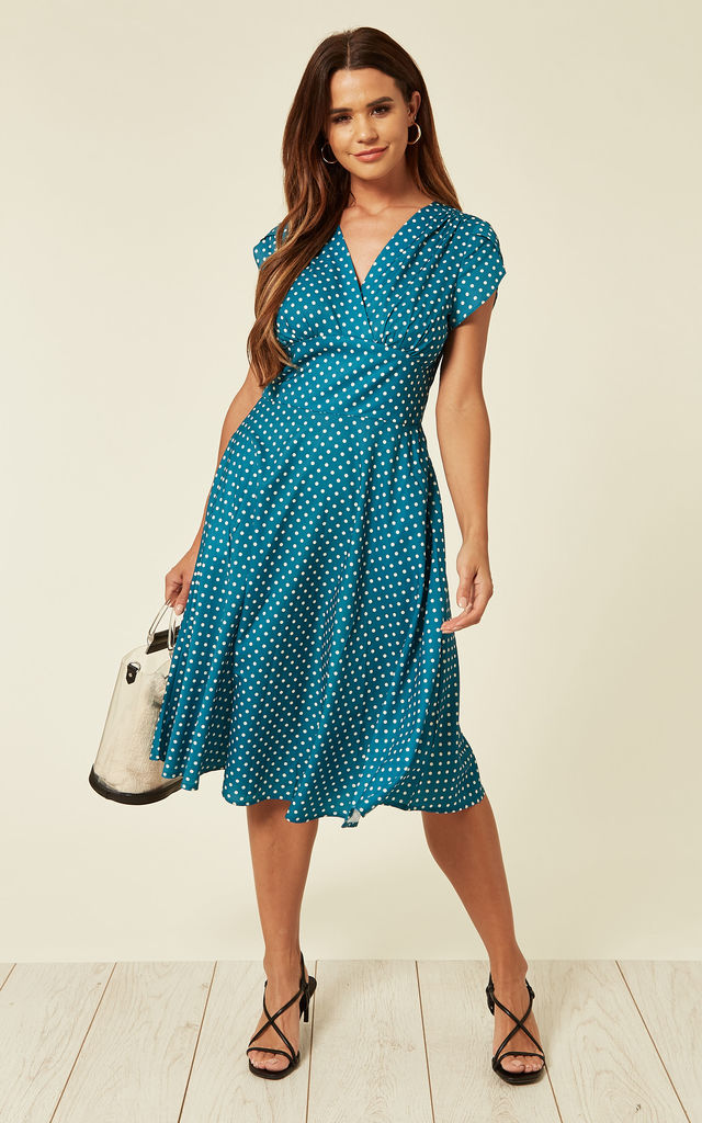 Wrap Tea Dress with Polka Dots in Teal by Voodoo Vixen