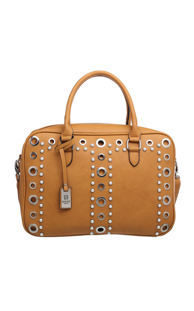 PEARL STUDDED EYELET TOTE YELLOW by BESSIE LONDON