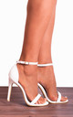 White Barely There Strappy Sandals Peep Toes Stilettos High Heels by Shoe Closet