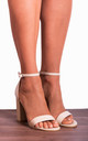 Barely There High Heel Sandals in Nude Patent by Shoe Closet