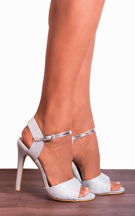 Silver Metallic Glitter Shimmer Peep Toes Strappy Sandals Stilettos High Heels by Shoe Closet