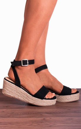 Black Ankle Strap Peep Toes Canvas Wedged Platforms Wedges Strappy Sandals by Shoe Closet Product photo