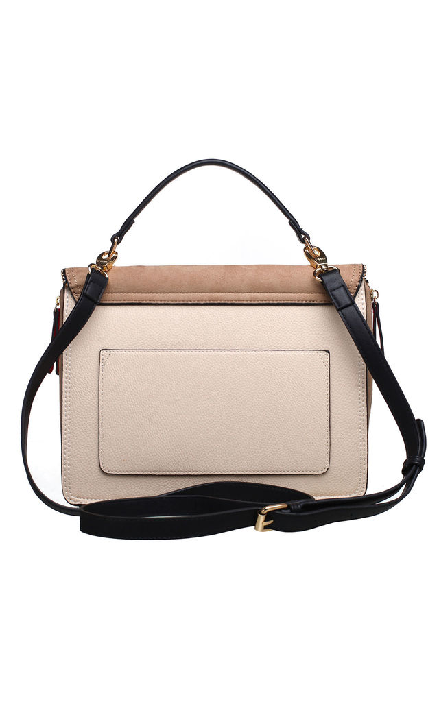 TWO TONE FLAP TOP TOTE KHAKI by BESSIE LONDON