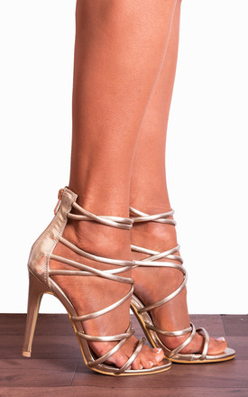 Gold Barely There Strappy Stilettos High Heels by Shoe Closet Product photo
