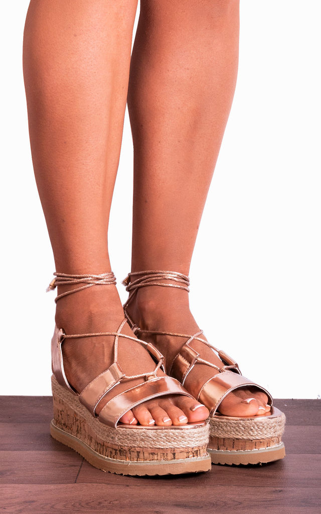 Rose Gold Metallic Lace Ups Canvas Espadrille Wedged Platforms Wedges Strappy Sandals by Shoe Closet