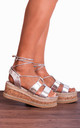 Silver Metallic Lace Up Canvas Espadrille Wedged Platform Wedges Strappy Sandals by Shoe Closet
