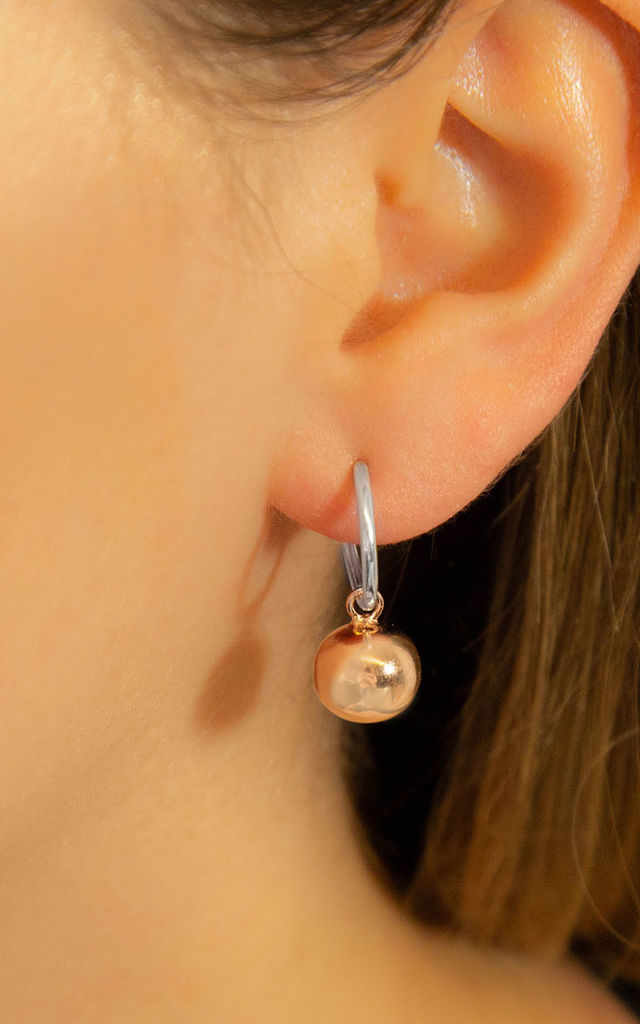 Rose Gold Plated Sterling Silver Ball Hoop Earrings by Martha Jackson Jewellery