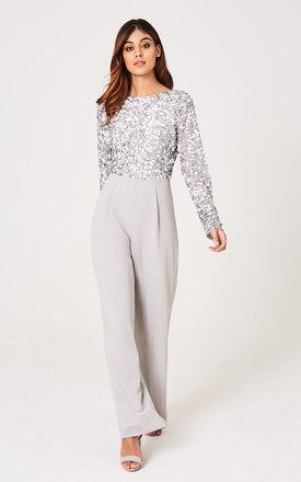 Brice Grey Hand-Embellished Sequin Jumpsuit by LITTLE MISTRESS