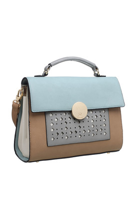 LASER CUT FLAP TOP TOTE BLUE by BESSIE LONDON