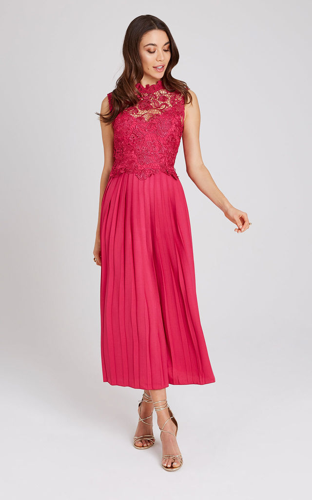 Frances Hot Pink Lace Midaxi Dress by LITTLE MISTRESS