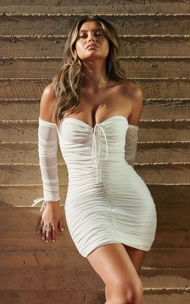 White Ruched Mesh Bardot Tie Front Mini Dress by Club L London