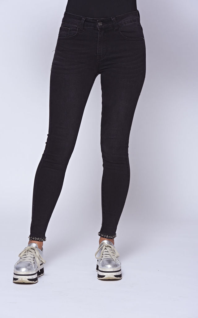 Black Stretch Skinny Jeans With Diamante Embellishments by The ModestMe Collection