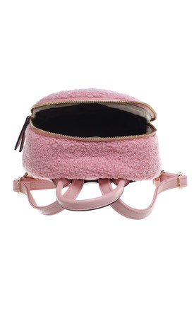 CURLY FUR ZIPPER BACKPACK PINK by BESSIE LONDON