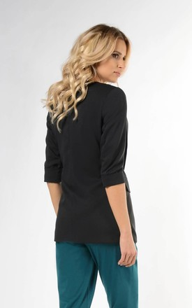 Jacket with 3/4 Sleeve and Button in Black by Bergamo