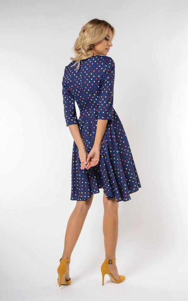 Wrap Flared Midi Dress in Navy with Dots by Bergamo