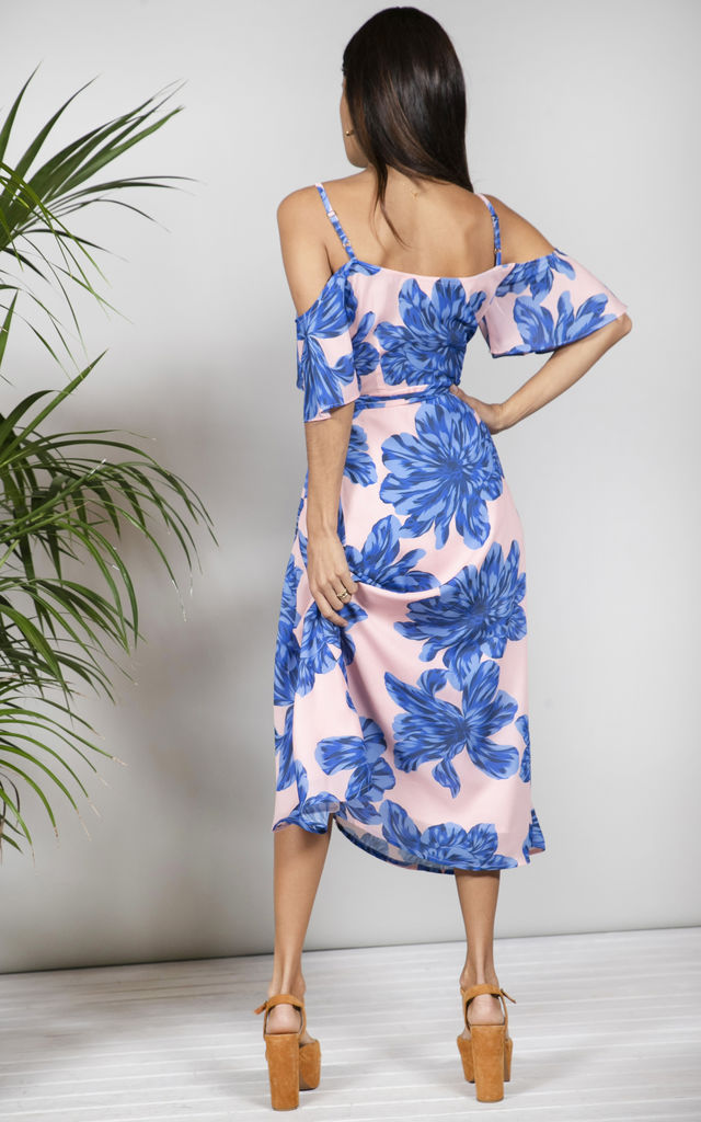 Ivy Dress in BLUE ON NUDE BLOOM image