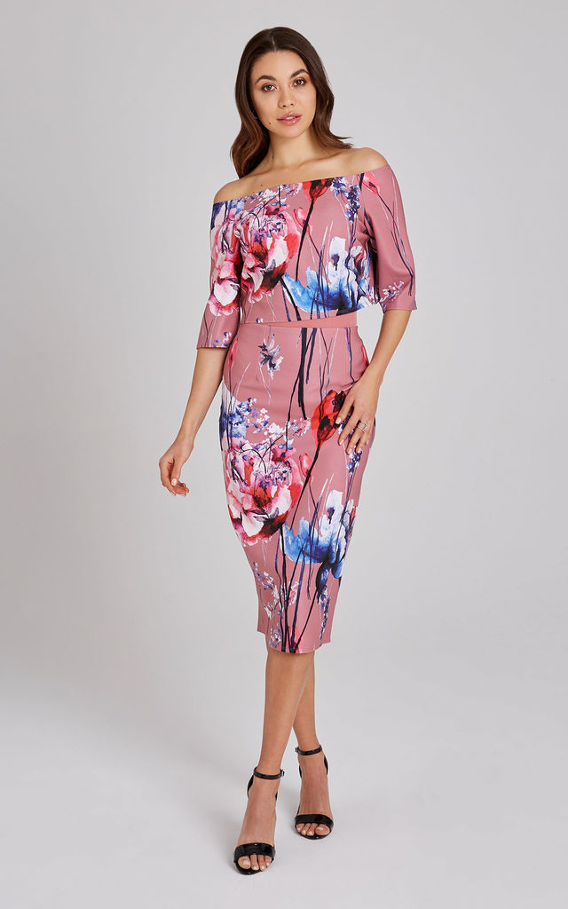 Elva Floral-Print Bardot Midi Dress by LITTLE MISTRESS
