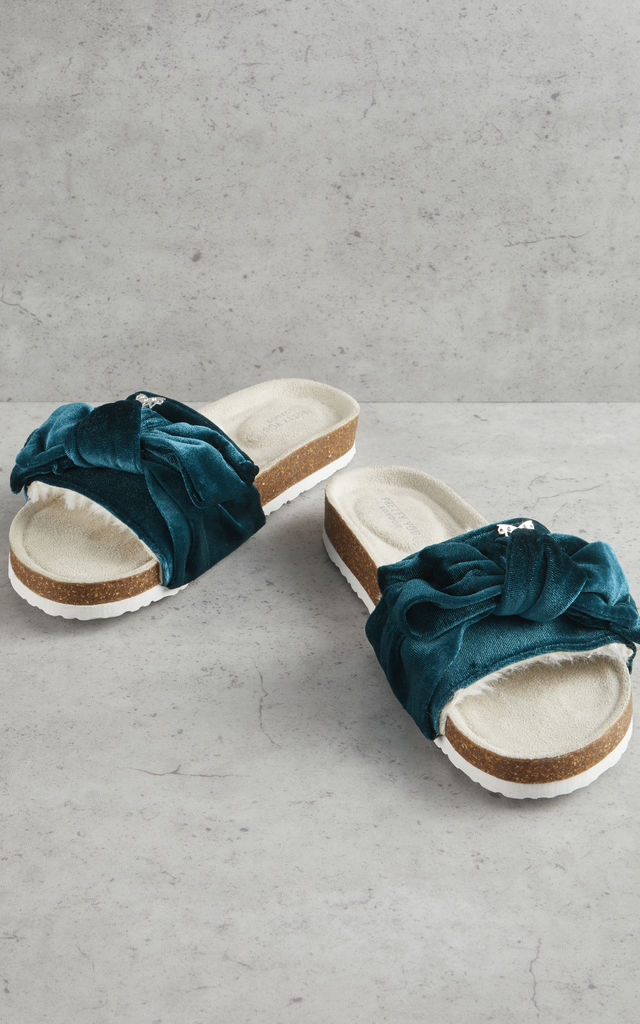 Velour Bow Footbed Sandals in Emerald Green by Pretty You London