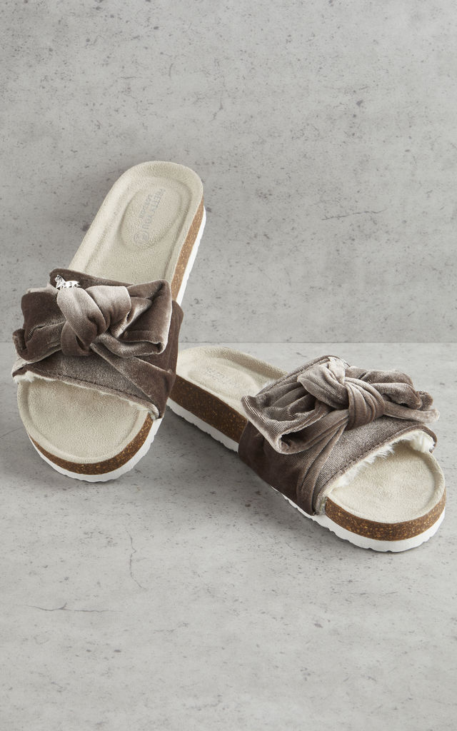 Velour Bow Footbed Sandals in Mink by Pretty You London